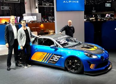 El lanzamiento del A110 GT4 en el Motor Show de Ginebra, en 2018. Foto: Infopits.